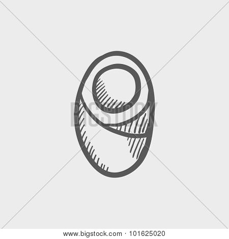 Infant wrapped in swaddling clothes sketch icon sketch icon for web, mobile and infographics. Hand drawn vector dark grey icon isolated on light grey background.