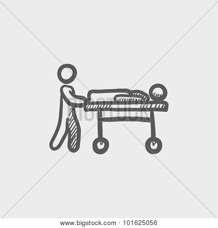 Man pushing stretchers sketch icon for web, mobile and infographics. Hand drawn vector dark grey icon isolated on light grey background.