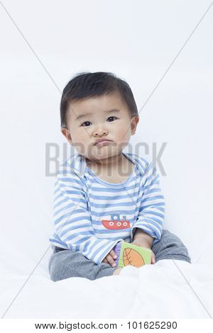 Displeased Chinese Baby Boy In Sailor Suit