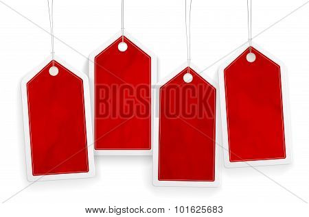 Set Of Four Price Red Paper Tags