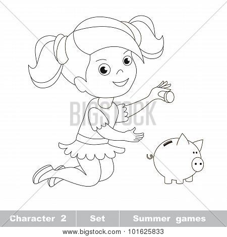 One little baby girl play with coin and piggy bank.
