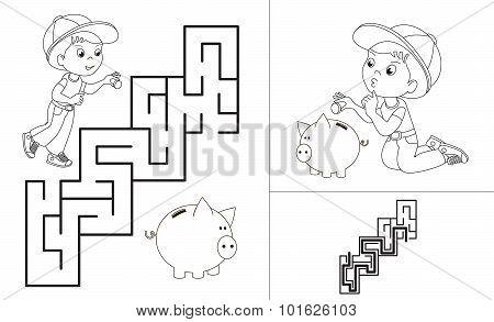 Maze game. One cartoon baby boy