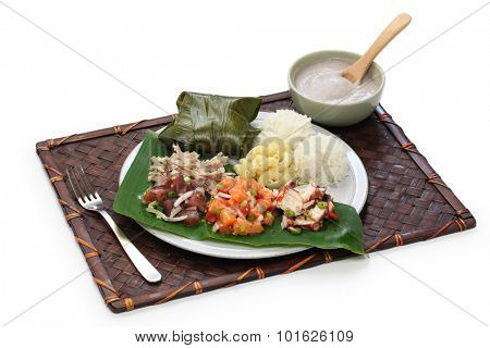 hawaiian traditional plate lunch isolated on white background