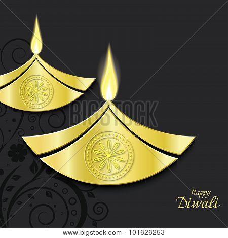 Vector Design Of Burning Diwali Diya