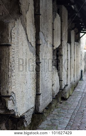 Medieval Tombstones On The Wall Of Catherine's Alley, Tallinn