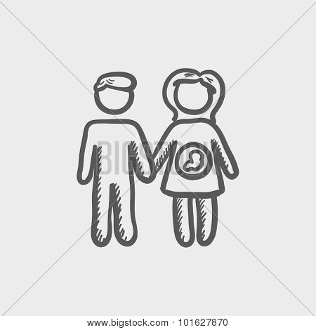 Husband with pregnant wife sketch icon for web, mobile and infographics. Hand drawn vector dark grey icon isolated on light grey background.