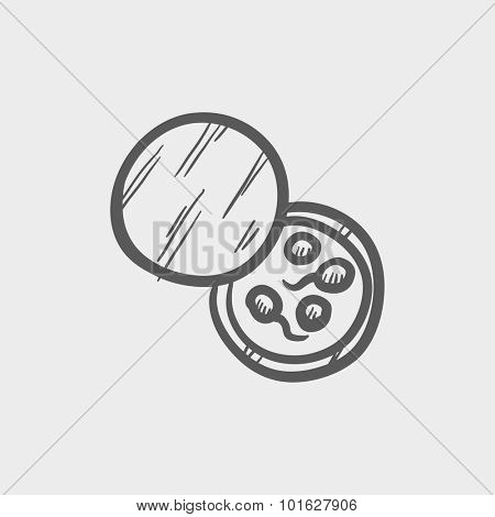 Donor sperm sketch icon for web, mobile and infographics. Hand drawn vector dark grey icon isolated on light grey background.