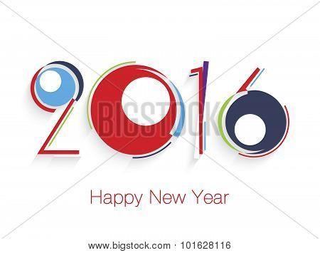 Happy New Year 2016 Creative Design Greeting Card