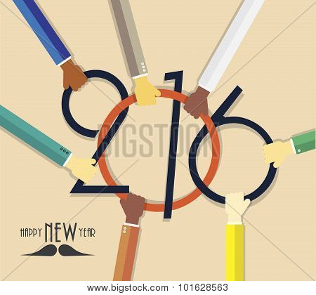 2016 Happy New Year Creative Background With Hands For Your Greetings Card, Flyers, Invitation, Busi