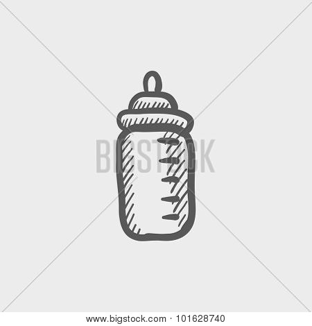 Feeding bottle sketch icon for web, mobile and infographics. Hand drawn vector dark grey icon isolated on light grey background.