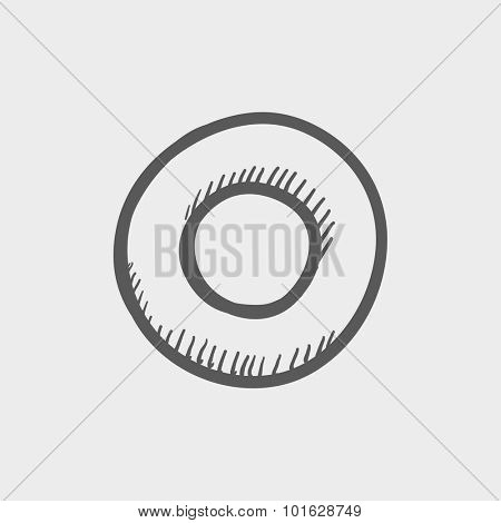 Record button sketch icon for web, mobile and infographics. Hand drawn vector dark grey icon isolated on light grey background.