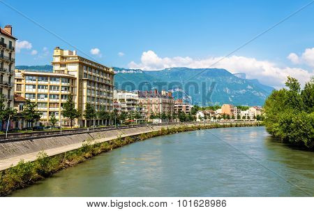 View Of Grenoble Over The River Isere - France