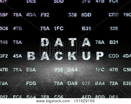 Data concept: Data Backup in grunge dark room