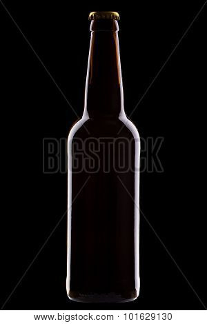 One Bottle Of Beer Isolated On Black Background