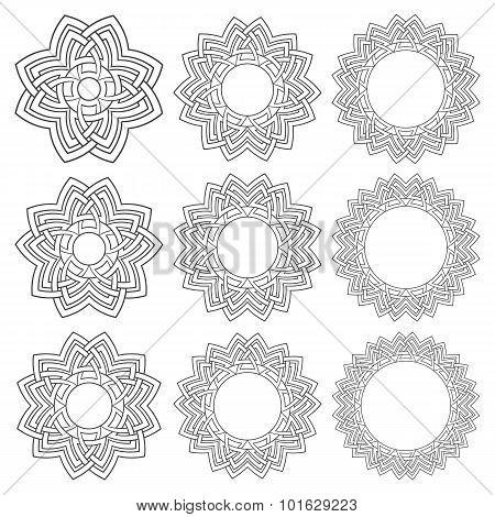 Nine circular decorative elements with stripes braiding