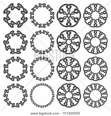 Sixteen circular decorative elements with stripes braiding