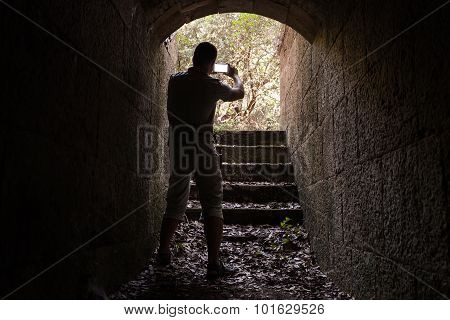 Young Man Is Taking Photo On His Smartphone