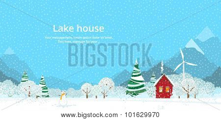 Winter, house on the lake in the mountains
