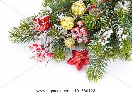 Christmas fir tree branch with holly berry and decor. Isolated on white background