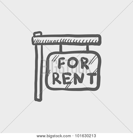 For rent placard sketch icon for web, mobile and infographics. Hand drawn vector dark grey icon isolated on light grey background.