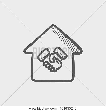 Handshake and successful real estate transaction sketch icon for web, mobile and infographics. Hand drawn vector dark grey icon isolated on light grey background.
