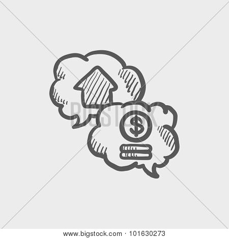 Real estate transaction sketch icon for web, mobile and infographics. Hand drawn vector dark grey icon isolated on light grey background.