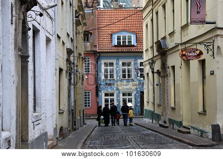 Riga, Latvia - March 18, 2012: Kramu Street In Old Riga, Latvia. Kramu Street Is Very Short, It Last