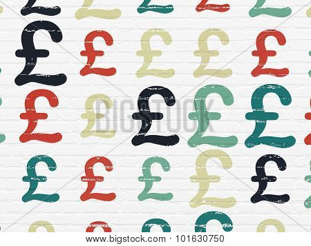 Currency concept: Pound icons on wall background
