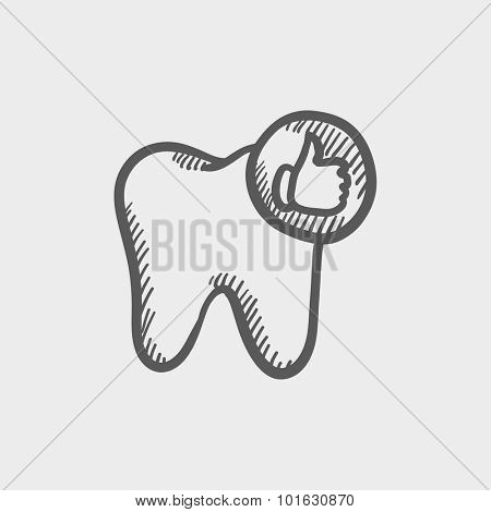 Healthy tooth sketch icon for web, mobile and infographics. Hand drawn vector dark grey icon isolated on light grey background.