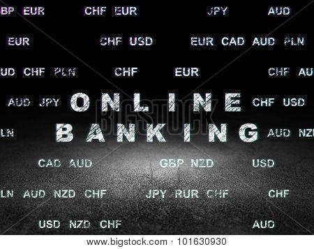 Currency concept: Online Banking in grunge dark room