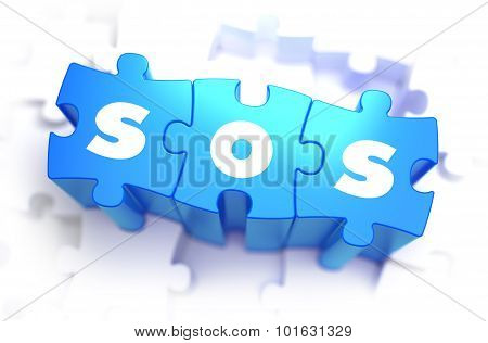 SOS - White Word on Blue Puzzles.