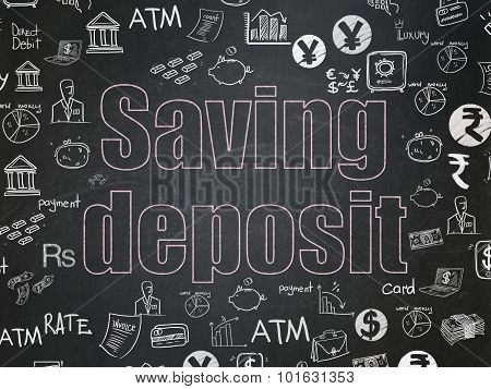 Banking concept: Saving Deposit on School Board background