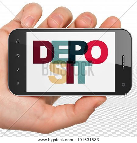 Currency concept: Hand Holding Smartphone with Deposit on  display