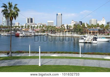 LONG BEACH, CA - FEBRUARY 21, 2015: Rainbow Harbor Long Beach. Shoreline Village overlooks Rainbow Marina with arcades, restaurants and other attractions.