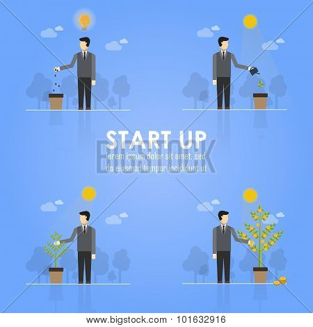 Business Timeline Infographics Design Emphasizing Businessman Planting Tree Concept On Light Blue Ba