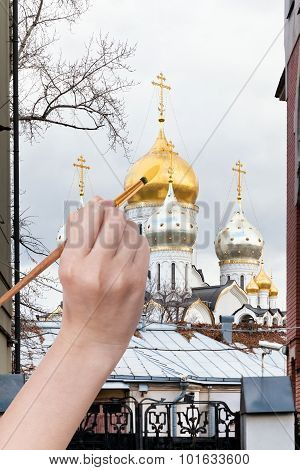 Coloring Of Dome Of Russian Church In Autumn
