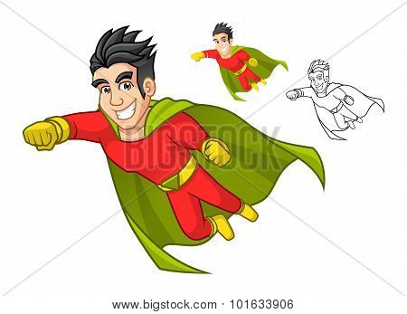 Cool Super Hero Cartoon Character with Cape and Flying Pose