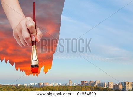 Paintbrush Paints Red Sunset Over Daily City