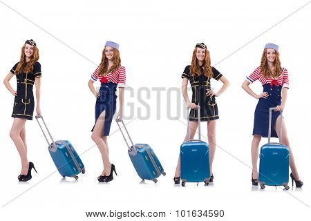 Set of photos with travelling airhostess