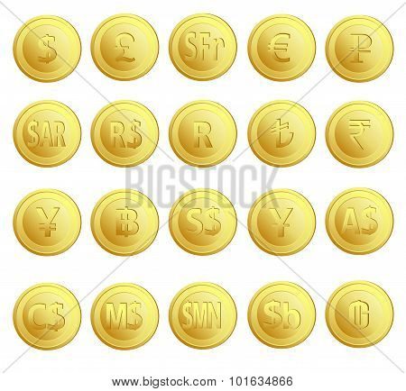 Set of 20 gold money currency