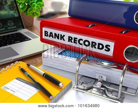 Red Ring Binder with Inscription Bank Records.