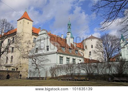 Riga, Latvia - March 19, 2012: View Of Riga Castle. The Castle Is A Residence For A President Of Lat