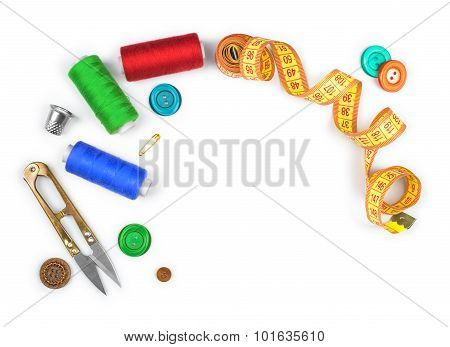 Sewing Kit Of Scissors, Thread, Pins, Buttons Isolated On White Background