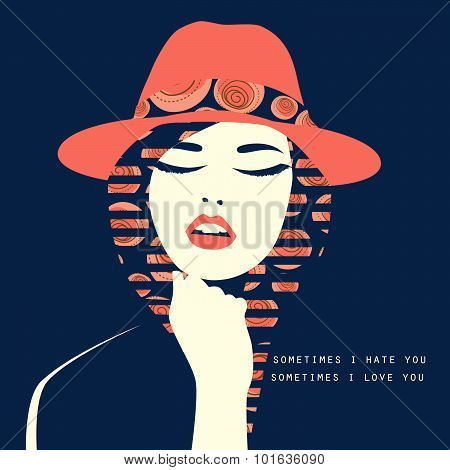 Vector Double Exposure Illustration. Woman With Red Hat