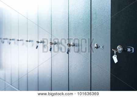 Metal lockers with numbers