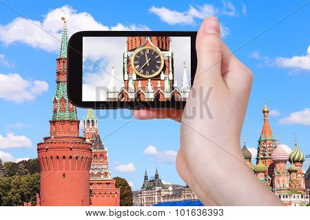 Picture Of Clock On Spasskaya Tower In Moscow
