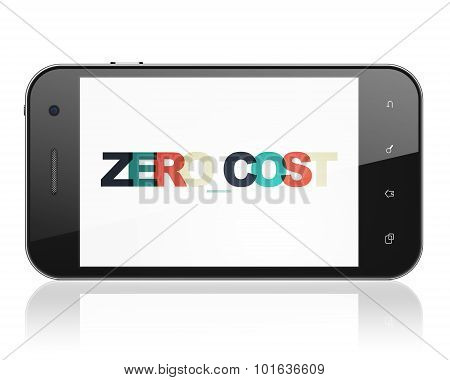 Finance concept: Smartphone with Zero cost on  display