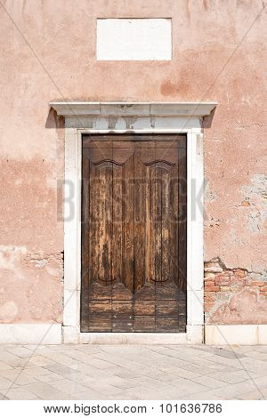 Wooden doors in old-fashioned house