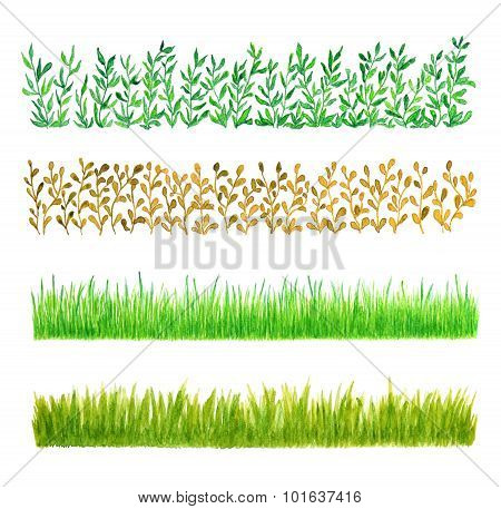 Set Of Four Grass Border Pieces Watercolor Hand Drawn And Painted