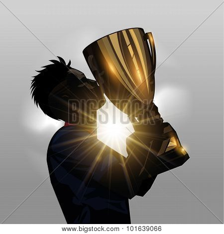 Soccer Player Kissing Trophy
